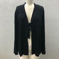 Chico's Open Tie Front Cardigan Jacket Women's XL Black Slinky Knit Long Sleeve