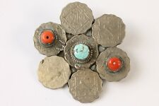 Vintage Turquoise Red Salmon Coral Silver Buckle Tribal