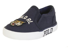 Polo Ralph Lauren Toddler Boy's Bal-Harbour-II Navy/Tiger Patch Sneakers Shoes