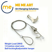 4 x Heavy Duty Rail Hooks + Art Hanging System Gallery Large Picture Display Kit