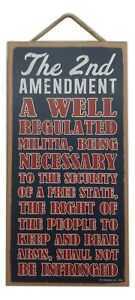 """2nd AMENDMENT Right To Bear Arms Primitive Wood Hanging Plaque 5"""" x 10"""""""