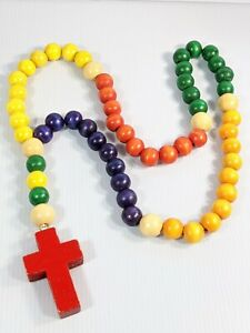 Colorful Wood Bead Large Cross Chunky Pendant Necklace 30 Inch