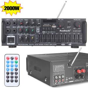 2000W Verstärker Stereo Amplifier HIFI Digital Bluetooth Radio FM Vollverstärker