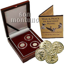 WAR & PEACE IN ANCIENT ROME: Gods Of Battle - Set of 3 Silver Roman Coins in Box