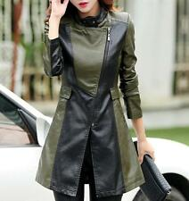 women black+green leather long jacket outwear zipper jacket coat trench parkas