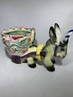Vintage Donkey with Hat pulling cart, ceramic planter 1940s Sons Co Japan