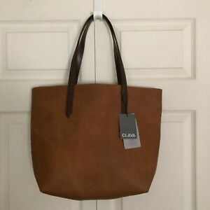 Clava Sonoma Ziptop Double Handle Suede Leather Tote in Tan - NEW