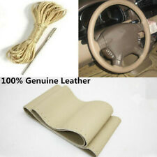 Car Steering Wheel Grip Genuine Leather Hand-Sewn Non-Slip Needle Thread Beige