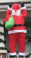 Gemmy Airblown Inflatable Santa Claus With Sack Hanging From Gutter 6.5 Ft