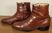 HANOVER Embassy Collection Chestnut Brown Zip Ankle Boots Men's 8 D/B - VINTAGE