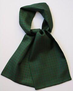 "Silk Cravat, green millefiori, hand made using Marinella fabric 39"" X 6"""
