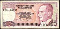 1984 Turkey 100 Lira Banknote * D09 426465 * VG * P-194