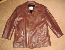 New listing Vintage 70s / 80s Cresco Brown leather front button coat faux fur lining size 44