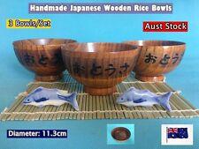 Japanese Style Handmade Wooden Rice Bowls Dinner Set Handmade - 3 pcs (B166) NEW