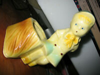 "Vintage Shawnee Art Pottery ""Boy on Stump"" Planter, Pastel Colors, #533, USA"