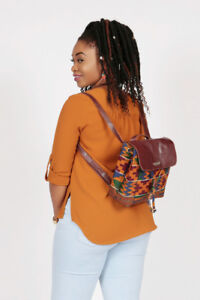 Women Ladies Backpack-African Ethnic Hippy Leather Fabric Rucksack Crossbody Bag