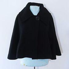 Express Black Wool Blend Cropped Dress Coat XS Cape Bell Sleeve Jacket A3811