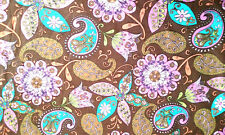 "Psychedelic Paisley ""BOHO GIRL"" Print on Brown Cotton Fabric BTY"
