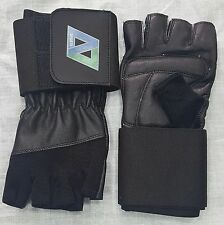 LEATHER WEIGHT LIFTING GLOVES FITNESS SPORTS TRAINING WIDE LONG STRAP