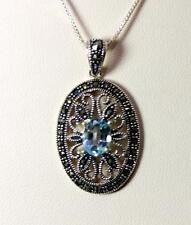 """Victorian Style Sterling Silver Topaz & Marcasite Pendant necklace 18"""" – 10213"""