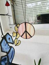 3 1/4  inch round  Stained Glass Peace sign  Ornament Suncatcher
