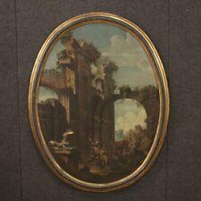 Quadro ovale antico dipinto olio su tela paesaggio capriccio rovine 700