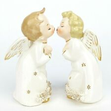 Vintage Kissing Angels Gold Stars w/ Spaghetti Trim Ardalt Japan Christmas Decor