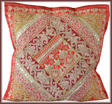 Hand Crafted Golden Zari Embroidery Patchwork Red Silk Pillow Cushion Cover