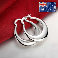 925 Sterling Silver Filled Oval Moon Shaped Ladies Fashion Hoop Dangle Earrings