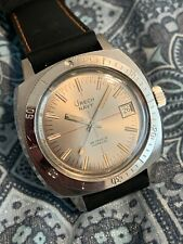 Vintage 70's Urech Diver Navy Watch Automatic Date Steel Mint Condition