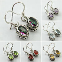 925 Pure Silver Real Gemstone ETHNIC Earrings ! Affordable Wedding Jewelry NEW