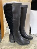 Marc Fisher Wide Calf Multi Leather Tall Shaft Boots Riyea Black Riding Sz 8 M