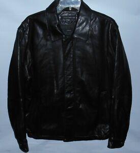 Claiborne Outerwear Black Bomber Style Thinsulate Soft Lambskin Jacket Medium