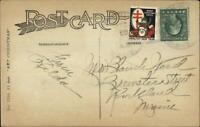 1920 Red Cross Christmas Seal Tied - Little Deer Isle ME Greeting Postcard