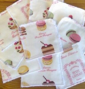 Reusable Make Up Remover Wipes Pads X 10 100% Cotton French Macarons Cakes Eco
