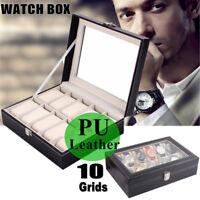 Black 10 Slot Watch Box Leather Display Case Organizer Top Glass Jewelry Storage