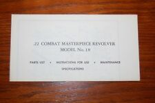 ORIGINAL SMITH & WESSON MODEL 18 .22 COMBAT MASTERPIECE MANUAL