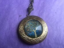 TREE OF LIFE ROUND LOCKET FLORAL BORDER PENDANT NECKLACE for Cat Sanctuary