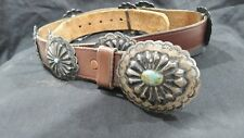 Silver & Turquoise Concho Belt (R165) Vintage Native American Navajo Old Pawn