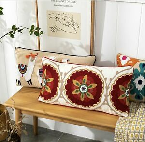 BOHO Tribal Pattern Cotton Embroidery Embroidered Cushion Cover Long Pillowcase