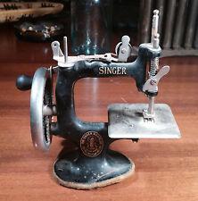 Antique Singer Miniature Sewing Machine Original Cast Iron Hand Crank
