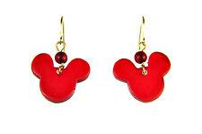 Elegante impresionante Vibrante Rojo Pendientes De Mickey Mouse Nuevo Lindo única (A19)