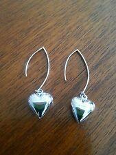 BRAND NEW Genuine Sterling silver earrings. Puff heart 4.5CM drop.  925....