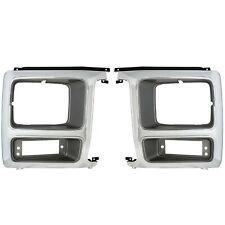 1980~1981 Ford Pickup Truck Headlight Trim Bezel Door Pair 2 PCS Chrome/Gray
