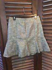Banana Republic Women's Trumpet Skirt Silver Metallic Tweed Career Size 6