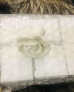 8-Rose White Glass Door Knobs Kitchen Drawer Cupboard Cabinet Furniture Handles