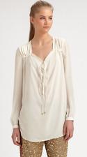 Haute Hippie Long-Sleeve Cowl Tie Front Silk Blouse Top  Tunic  Size  L