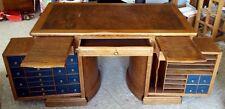 Antique Original Wooton Rotary Patent Flat Top Desk  Oak?