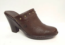 BORN Size 9 Brown Leather Mules Heels Shoes