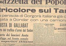 GALLABAT TANA LANCERI AOSTA GP MONACO CARACCIOLA GAZZETTA POPOLO APRILE 1936